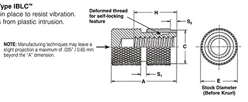 Pem Molded-in Threaded Inserts, Self-Locking, Blind Threaded - Unified, IBLC-632-8