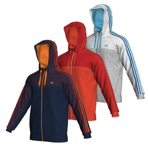 size 40 dbf14 d9b26 Adidas Essentials 3 Stripe Mens Full Zip Hoody (Orange X Large)  Amazon.co.uk Clothing