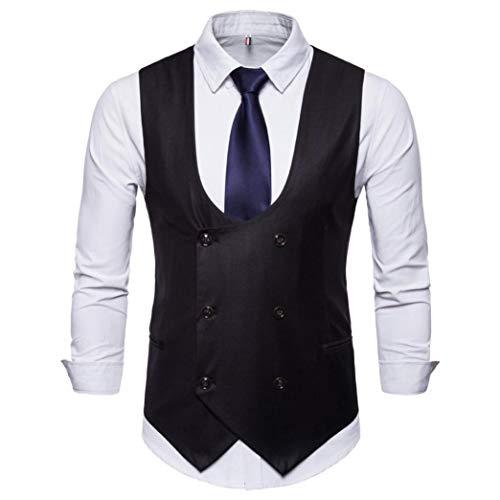 NRUTUP British Suit Vest Men's Button Casual Basic Business Chemise Print Sleeveless Autumn Winter Jacket Coat Blouse New (Black, M)