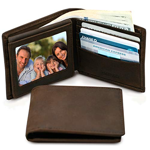 Mens Leather Slim Bifold Wallet | RFID Blocking with 2 ID Windows | By Stay Fine