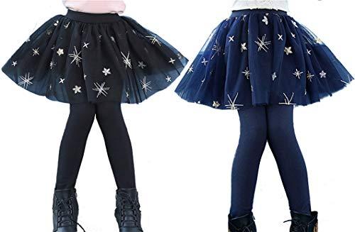 SERAIALDA Kids Girls 2 Pieces Lace Ruffle Leggings Gauze Culottes Tutu Skirt Leggings Pants 4-5 Years(Tag Size 120) ()