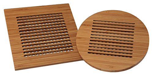(Totally Bamboo Lattice Trivets, 2 Piece Set, Round and Square Bamboo Trivets)