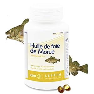 LEPPIN – Huile de FOIE DE MORUE – 200 comprimés – Oméga 3 + Vitamnies A et D – Certifié SANS MÉTAUX LOURDS – Compléments…