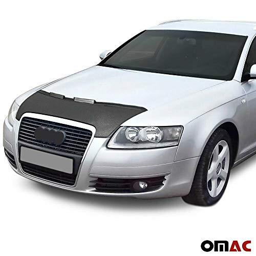 2006 Half Mask - OMAC USA Front Hood Cover Mask Black Vinly Bonnet Bra (Half) Stoneguard Protector for Audi A6 C6 2005-2011