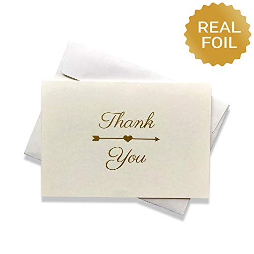 Thank You Cards Bulk | Wedding, Baby Shower, Business and Any Occasions | Gold Foil Heart and Arrow | 50 Blank Note Card with Envelope Set | Simple Classic and Elegant Design | Off-White Ivory (Gold Envelopes Ivory Foil)