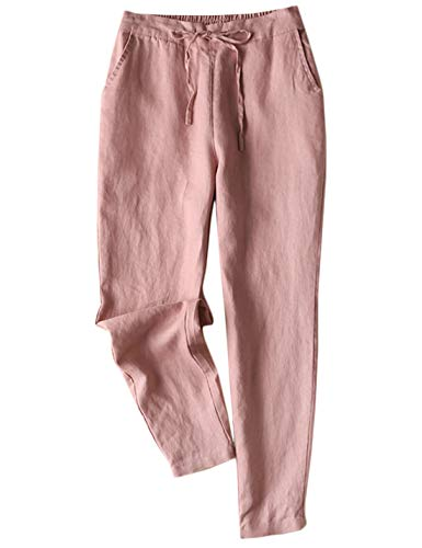 Jenkoon Women's Linen Pants Back Elastic Drawstring Tapered Pants Lightweight Summer Trousers (Pink, ()