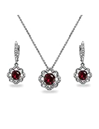 Sterling Silver Genuine, Created, or Simulated Gemstone 6mm Round-Cut Flower Dainty Slide Necklace & Leverback Earrings Set