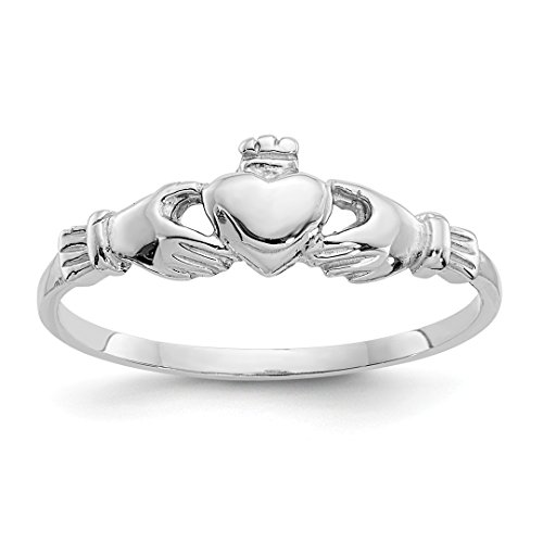 Ring Irish Gold White Claddagh (14k White Gold Childs Irish Claddagh Celtic Knot Band Ring Size 4.00 Fine Jewelry For Women Gift Set)