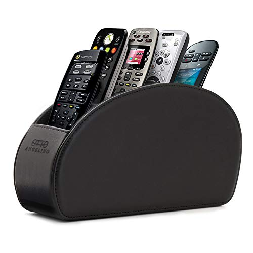 - Londo Remote Controller Holder Organizer Store DVD Blu-ray TV Roku or Apple TV Remotes - Italian Genuine Leather with Suede Lining Living or Bedroom Storage