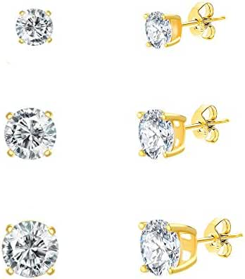 18K White / Gold Sterling Silver Round Cubic Zirconia 3-Pair Stud Earring Set