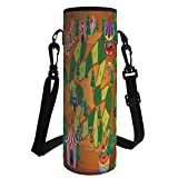 iPrint Water Bottle Sleeve Neoprene Bottle Cover,Board Game,Circus Themed Design Jokers Tents Balloons Trees Playful Joyous Cartoon Field,Multicolor,Fit for Most of Water Bottles
