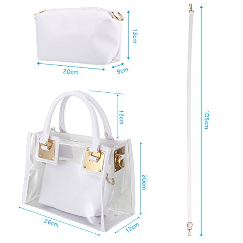 amp;crossbody White Bags Transparent Women Handbag Espeedy Waterproof amp;shoulder Bag Candy Swimming PVC bag Beach Small Handbag Cosmetic with Handbag Clear Tote Beach Summer Messenger Jelly Bag Shoulder Shoulder ZZxnwpqr