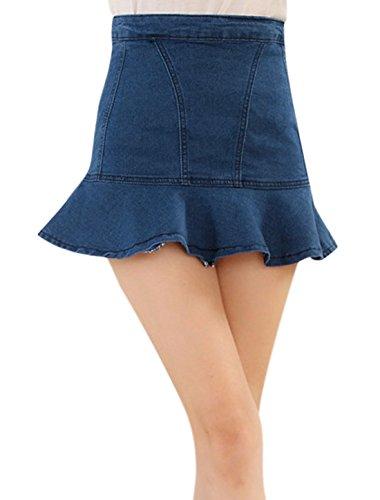 sourcingmap Femme Agitation Ourlet Taille Haute Fermeture Éclair Fermeture Arrière Fit & Flare Jupe - Bleu, Femme, M EU 38