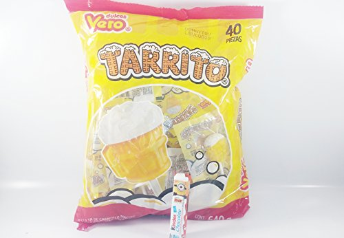 Vero tarrito fruit Flavor Lollipops, 40 Pieces Authentic Mexican Candy with Free Chocolate Kinder Bar Included (Beer Pops Mexican Candy)