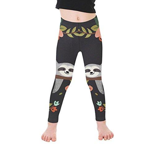 InterestPrint Age 1-7 Baby Kids Girls Boys Black Cute Sloth Tree Flower Stretchy Leggings Pants Trousers