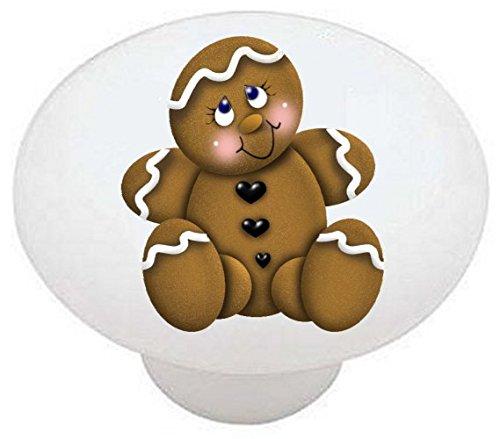 POSE #01 - Gingerbread CAW - DECORATIVE Glossy CERAMIC Drawer PULL Dresser -
