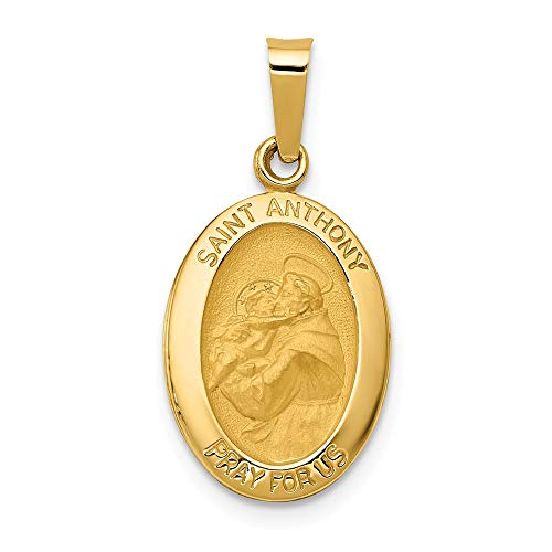 14k Yellow Gold Saint Anthony Medal Pendant Charm Necklace Religious Patron St Fine Jewelry Gifts For Women For Her ()