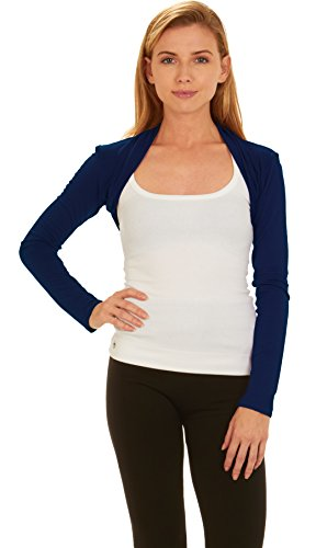 Red Hanger Women Bolero Long Sleeve Shrug Crop Top, Navy-S