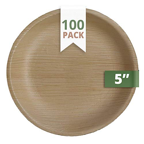 CaterEco Round Palm Leaf Plates Set (Pack of 100) | Appetizer Or Dessert Plates |  Ecofriendly Disposable Dinnerware | Heavy Duty Biodegradable Party Utensils for Wedding, Camping & -