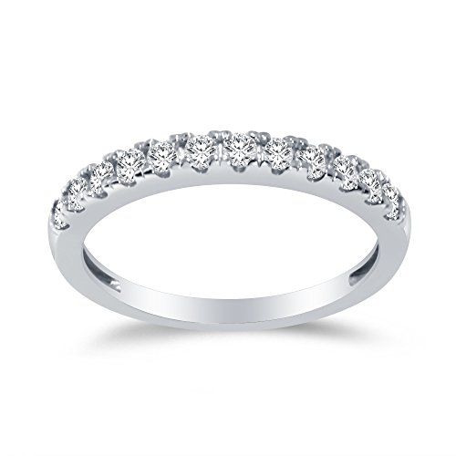 Size - 7.5 - Solid 925 Sterling Silver 2.5mm Round Cut Anniversary Ring Wedding Band Highest Quality CZ Cubic Zirconia 1.0cttw.