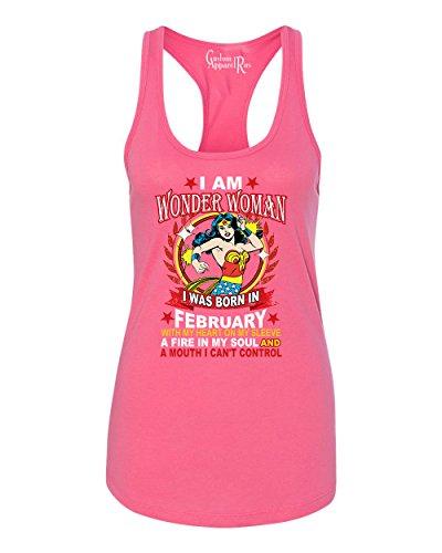 Wonder Woman Born In February Superhero Womans Racerback Tank Top Hot Pink (Hot Female Superheros)