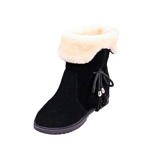 2bfce2313b0fb9 Damen Schneestiefel Warme Mumuj Schicke Bowknot Flache Schuhe Mädchen  Herbst Winter SAMT Baumwolle Schuhe Günstig Freizeit