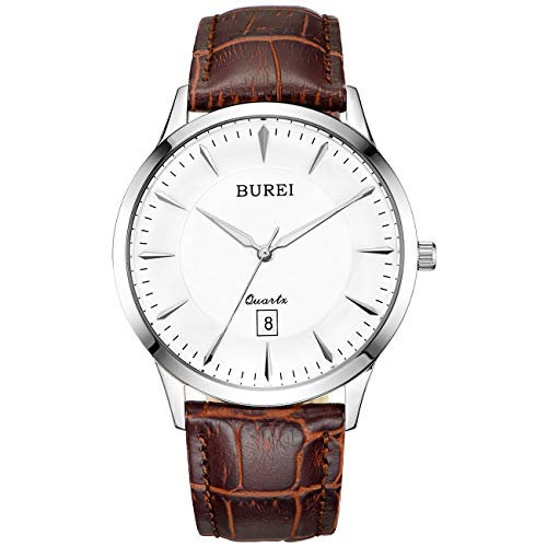 BUREI Men Women Watches Automatic Watch Classic Quartz Wrist Watch Fashion Analog Dial Round Case Stainless Steel Band and Leather Strap