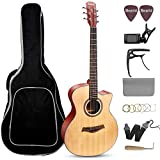 Beginner Acoustic Guitar 41'' Full Size GA Cutaway Spruce Wooden Guitars Kit - Starter Guitar Pack for Adults (Grand Auditorium) - Bundle with Gig Bag, Capo, Tuner, Strings, Strap, Picks