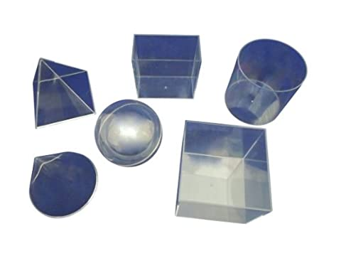 Ajax Scientific 6 Piece Plastic Geometric Volume Relationship Set, Clear (Volume Cubes)