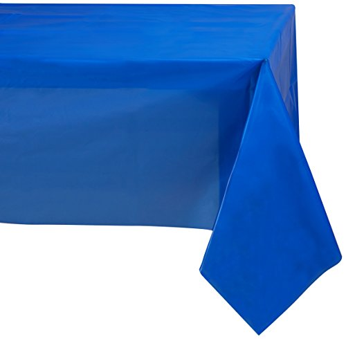 Jubilee 54-Inch-By-108-Inch PEVA Table Cover, 4 Count, Blue