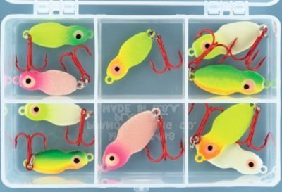 Glo Ice (Lindy Techni-Glo Value Pack Ice Fishing Kits - Frostee Jigging - 10 Pieces)