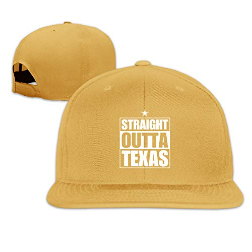 Volunteer Unisex Fashion Straight Outta Texas Football Cowboy Baseball Caps Buckle Design Adjustable Trucker Hat Yellow