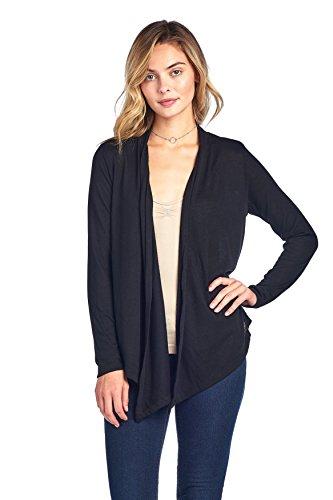 Hollywood Star Fashion Long Sleeves Knit Cardigan Flyaway Plain Basic (M, Black) ()