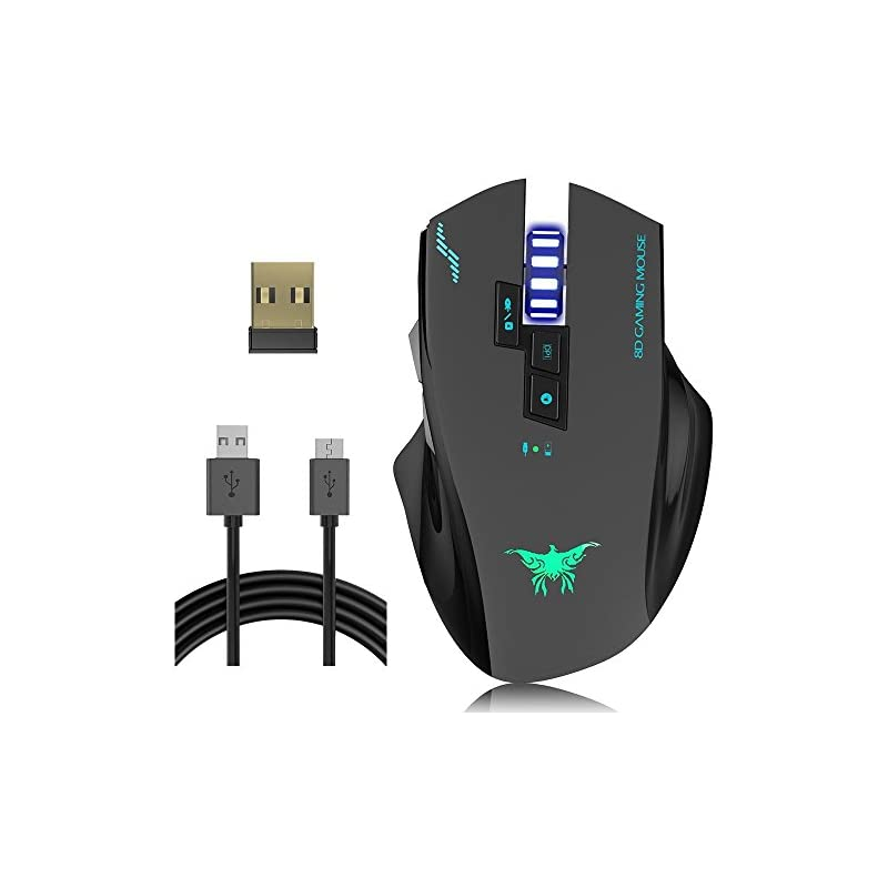 Wired Wireless Gaming Mouse, VersionTECH. W100 2400DPI Rechargeable Laser Gaming Mouse with 3 Led Lights, 8 Buttons, 4 Adjustable DPI Levels for PC and Mac