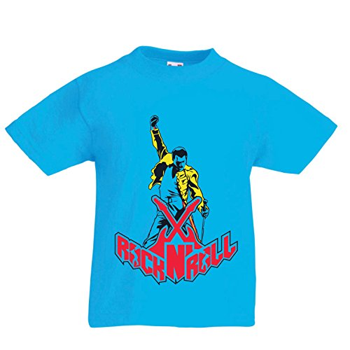 lepni.me Camisas para niños Rock 'N' Roll (12-13 Years Azul Claro Multicolor)