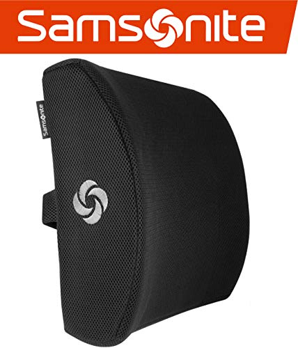 - Samsonite SA5243 - Ergonomic Lumbar Support Pillow - Helps Relieve Lower Back Pain - 100% Pure Memory Foam - Improves Posture - Fits Most Seats - Breathable Mesh - Washable Cover - Adjustable Strap