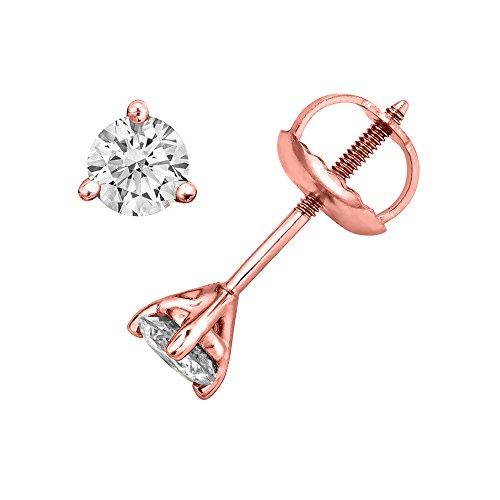 1/10 cttw 3 Prong Setting Round Cut Diamond Stud Earrings in 14k Rose Gold - IGI Certified (Diamond Rose Stud)