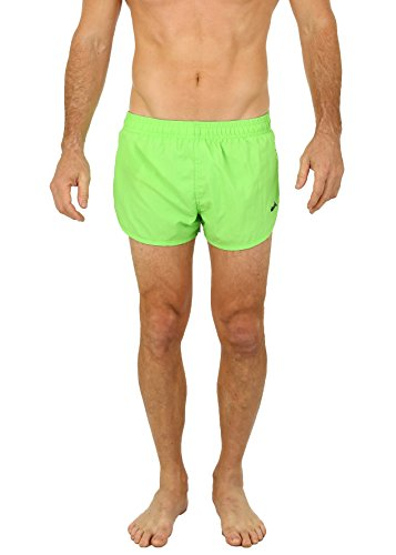 UZZI Men's Basic Running Shorts Swimwear Trunks by Neon Green (Medium)