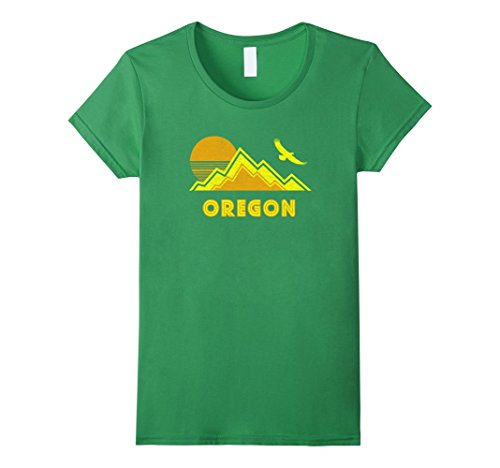 Womens Retro Oregon T-Shirt Distressed Hiking Tee Large Grass