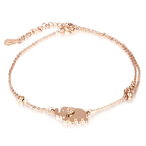 Marrymi 18K Rose Gold Plating Brass Adjustable Handmade Chain Anklet For Mother's Day