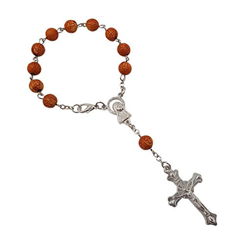 (MY_Treasure_Store One Decade Rosary Beads Catholic Bracelet with Sacred Heart of Mary Guadalupe & Cross)