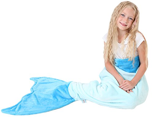 [Mermaid Tail Blanket - Soft and Warm Polar Fleece Fabric Blanket by Cuddly Blankets for Kids and Teens (Ages 3-12) (Aqua and Ocean] (Ariel Tail Costumes)