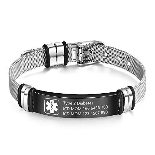 Medical Alert Bracelet for Men & Women Adjustable Free Engrave Stainless Steel Emergency Medical ID Bracelets Medic Alert Bracelet Health Alert Bracelets (With medical bracelet)