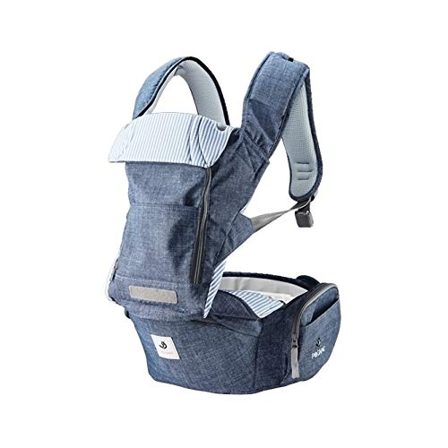 Pognae No 5 Organic Baby Hipseat All in One Carrier Six Position for Infants Babies Toddlers (Blue-Melange Denim)