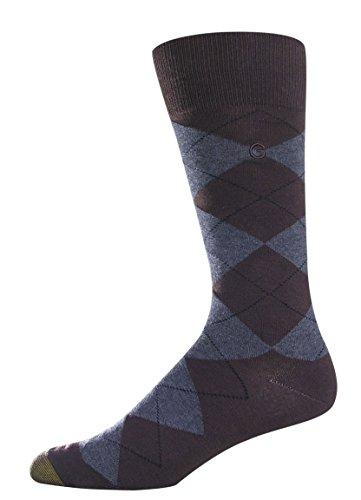Gold Toe Men's Combed Cotton Argyle Sock, Brown, Large (Gold Socks Toe Toe Stretch)