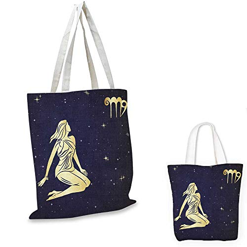 Virgo canvas laptop bag Woman in Short Dress Sitting in Space Looking at Stars Horoscope Themed Image canvas tote bag with pockets Indigo Yellow. ()
