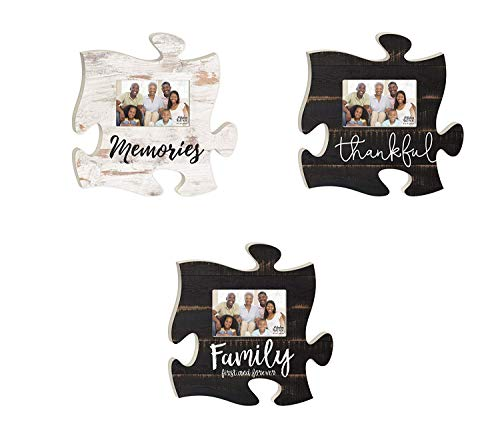 - P. Graham Dunn Family Memories Thankful Distressed Look Puzzle Piece Interlocking Wall Plaque Photo Frames Set of 3