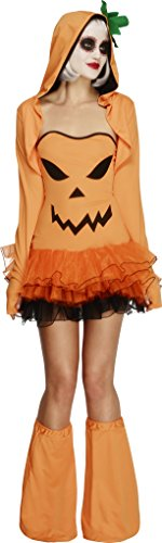 Smiffy's Women's Fever Pumpkin Costume, Tutu Dress Costume, Detachable Clear Straps, Jacket and Boot covers, Halloween, Fever, Size 10-12, ()