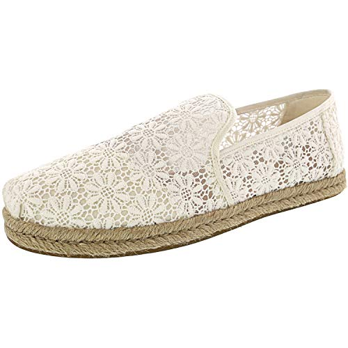 TOMS Women's Deconstructed Alpargata Rope Natural Floral Lace 7 B US