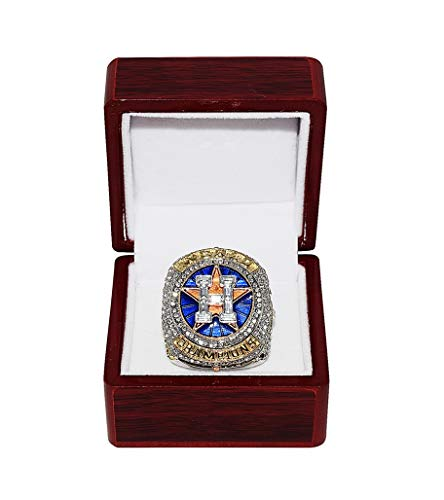 HOUSTON ASTROS (George Springer) 2017 WORLD SERIES CHAMPIONS (First Series Title) Collectible High-Quality Replica Silver & Gold Baseball Championship Ring with Cherrywood Display Box